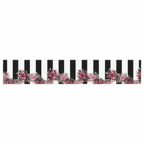 "Ebi Emporium ""STRIPES AND ROSES, PINK"" Pink,Black,Floral,Stripes,Mixed Media,Watercolor Table Runner"