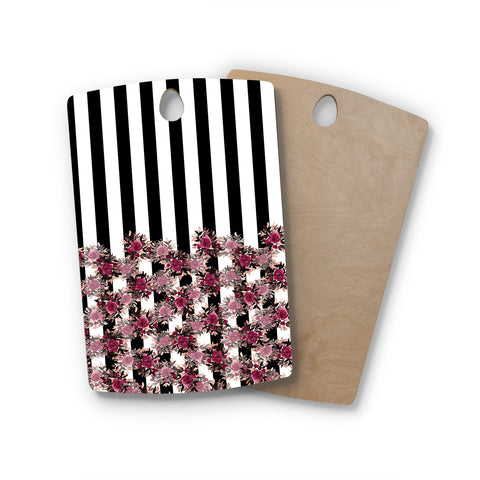 "Ebi Emporium ""STRIPES AND ROSES, PINK"" Pink,Black,Floral,Stripes,Mixed Media,Watercolor Rectangle Wooden Cutting Board"