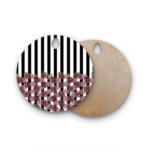 "Ebi Emporium ""STRIPES AND ROSES, PINK"" Pink,Black,Floral,Stripes,Mixed Media,Watercolor Round Wooden Cutting Board"