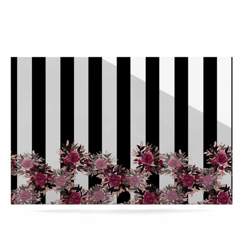 "Ebi Emporium ""STRIPES AND ROSES, PINK"" Pink,Black,Floral,Stripes,Mixed Media,Watercolor Luxe Rectangle Panel"