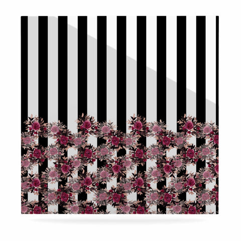 "Ebi Emporium ""STRIPES AND ROSES, PINK"" Pink,Black,Floral,Stripes,Mixed Media,Watercolor Luxe Square Panel"