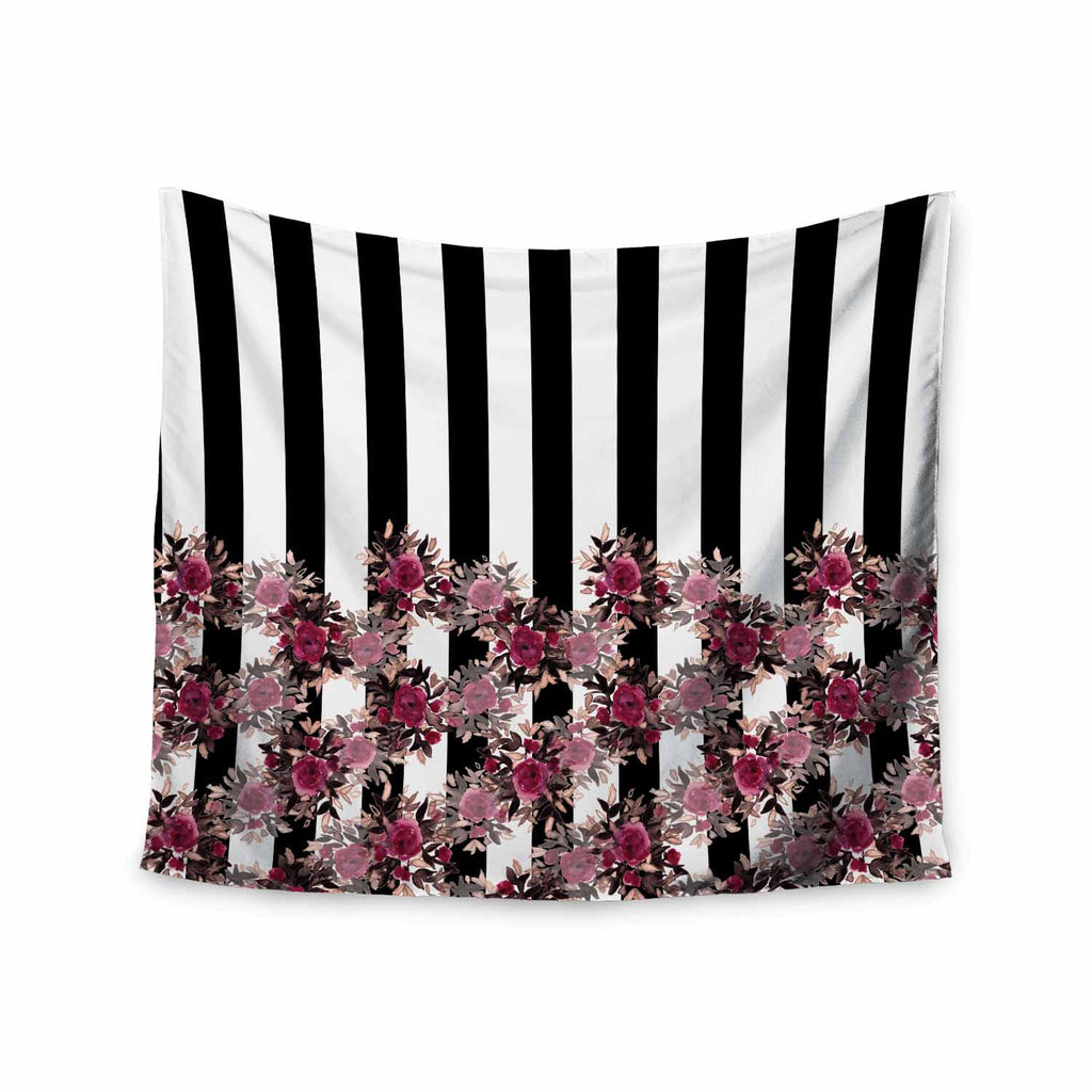 "Ebi Emporium ""STRIPES AND ROSES, PINK"" Pink,Black,Floral,Stripes,Mixed Media,Watercolor Wall Tapestry"