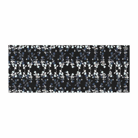 "Ebi Emporium ""DANCING ROSES ON BLACK"" Black,White,Pattern,Floral,Mixed Media,Watercolor Bed Runner"