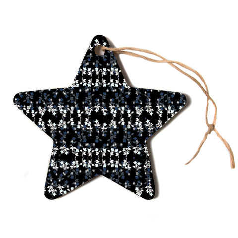 "Ebi Emporium ""DANCING ROSES ON BLACK"" Black,White,Pattern,Floral,Mixed Media,Watercolor Star Holiday Ornament"