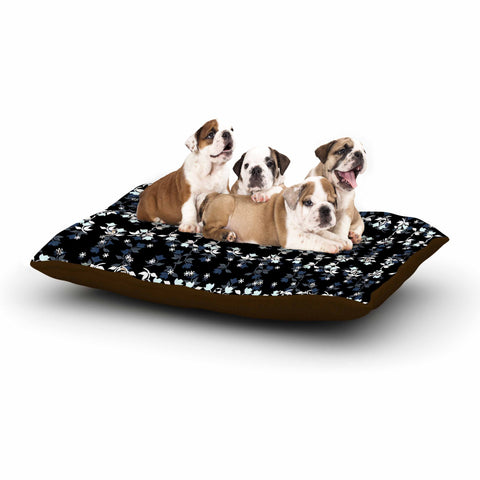 "Ebi Emporium ""DANCING ROSES ON BLACK"" Black,White,Pattern,Floral,Mixed Media,Watercolor Dog Bed"