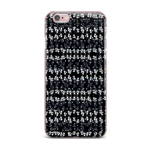 "Ebi Emporium ""DANCING ROSES ON BLACK"" Black,White,Pattern,Floral,Mixed Media,Watercolor iPhone Case"