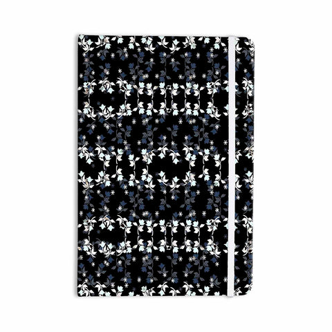 "Ebi Emporium ""DANCING ROSES ON BLACK"" Black,White,Pattern,Floral,Mixed Media,Watercolor Everything Notebook"