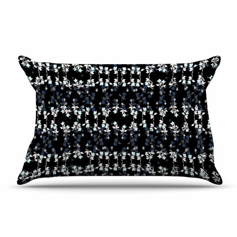 "Ebi Emporium ""DANCING ROSES ON BLACK"" Black,White,Pattern,Floral,Mixed Media,Watercolor Pillow Sham"