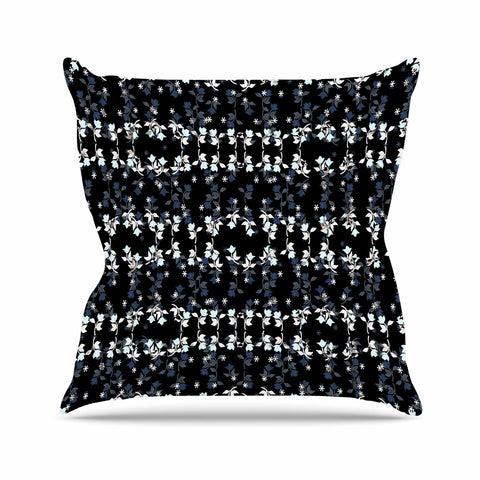 "Ebi Emporium ""DANCING ROSES ON BLACK"" Black,White,Pattern,Floral,Mixed Media,Watercolor Outdoor Throw Pillow"