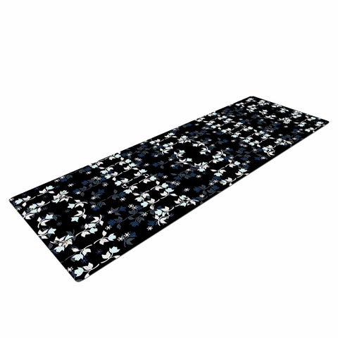 "Ebi Emporium ""DANCING ROSES ON BLACK"" Black,White,Pattern,Floral,Mixed Media,Watercolor Yoga Mat"