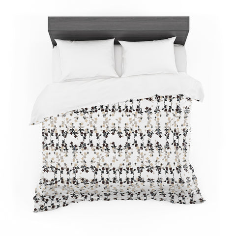 "Ebi Emporium ""DANCING ROSES ON WHITE"" White,Black,Pattern,Floral,Mixed Media,Watercolor Featherweight Duvet Cover"