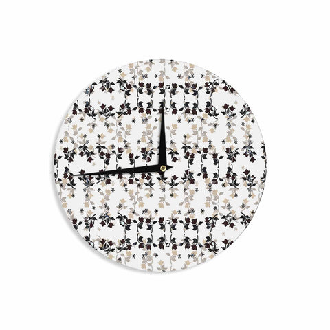 "Ebi Emporium ""DANCING ROSES ON WHITE"" White,Black,Pattern,Floral,Mixed Media,Watercolor Wall Clock"