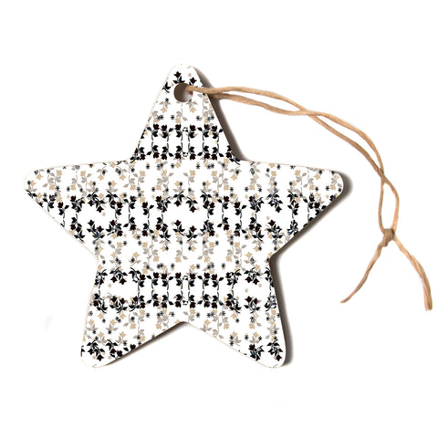 "Ebi Emporium ""DANCING ROSES ON WHITE"" White,Black,Pattern,Floral,Mixed Media,Watercolor Star Holiday Ornament"