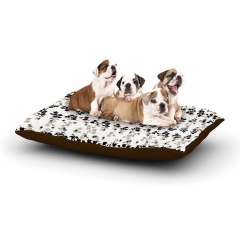 "Ebi Emporium ""DANCING ROSES ON WHITE"" White,Black,Pattern,Floral,Mixed Media,Watercolor Dog Bed"