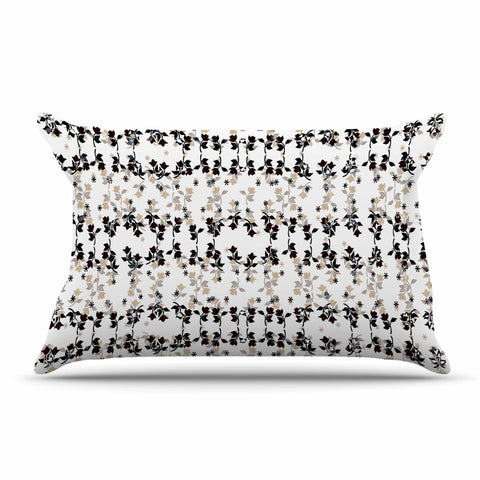 "Ebi Emporium ""DANCING ROSES ON WHITE"" White,Black,Pattern,Floral,Mixed Media,Watercolor Pillow Sham"