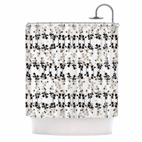 "Ebi Emporium ""DANCING ROSES ON WHITE"" White,Black,Pattern,Floral,Mixed Media,Watercolor Shower Curtain"