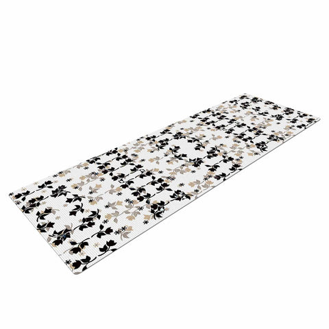 "Ebi Emporium ""DANCING ROSES ON WHITE"" White,Black,Pattern,Floral,Mixed Media,Watercolor Yoga Mat"