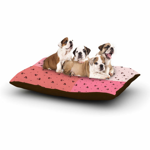 "Ebi Emporium ""COLORBLOCK FLORAL 7"" Pink,Pastel,Modern,Floral,Mixed Media,Watercolor Dog Bed"