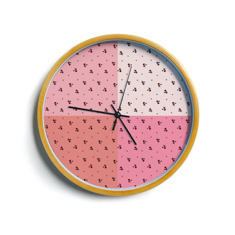 "Ebi Emporium ""COLORBLOCK FLORAL 7"" Pink,Pastel,Modern,Floral,Mixed Media,Watercolor Modern Wall Clock"
