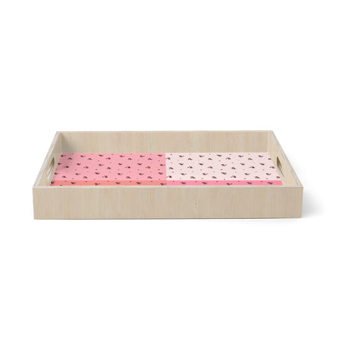 "Ebi Emporium ""COLORBLOCK FLORAL 7"" Pink,Pastel,Modern,Floral,Mixed Media,Watercolor Birchwood Tray"