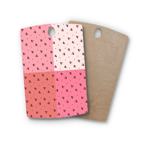 "Ebi Emporium ""COLORBLOCK FLORAL 7"" Pink,Pastel,Modern,Floral,Mixed Media,Watercolor Rectangle Wooden Cutting Board"