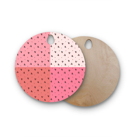 "Ebi Emporium ""COLORBLOCK FLORAL 7"" Pink,Pastel,Modern,Floral,Mixed Media,Watercolor Round Wooden Cutting Board"
