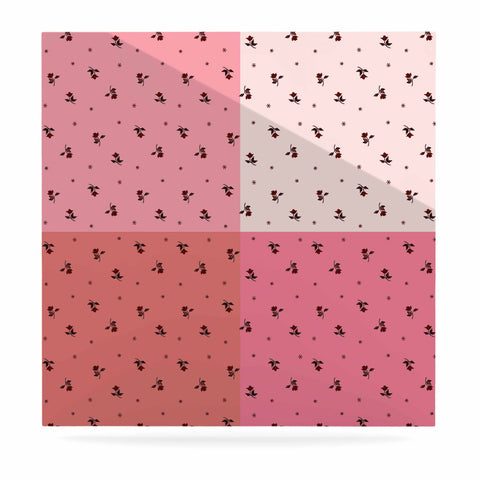 "Ebi Emporium ""COLORBLOCK FLORAL 7"" Pink,Pastel,Modern,Floral,Mixed Media,Watercolor Luxe Square Panel"
