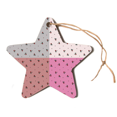 "Ebi Emporium ""COLORBLOCK FLORAL 2"" Pastel,Pink,Modern,Floral,Mixed Media,Watercolor Star Holiday Ornament"