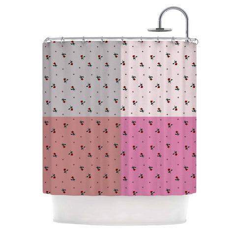 "Ebi Emporium ""COLORBLOCK FLORAL 2"" Pastel,Pink,Modern,Floral,Mixed Media,Watercolor Shower Curtain"