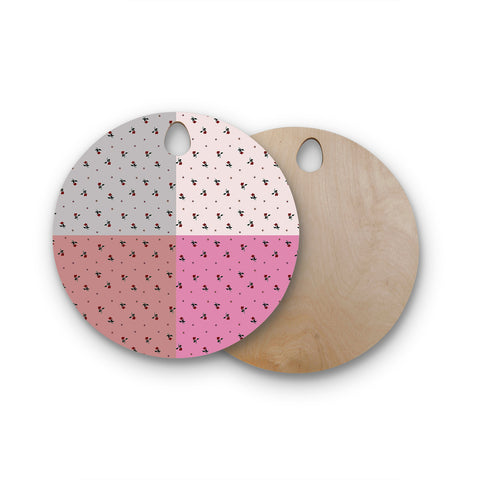 "Ebi Emporium ""COLORBLOCK FLORAL 2"" Pastel,Pink,Modern,Floral,Mixed Media,Watercolor Round Wooden Cutting Board"