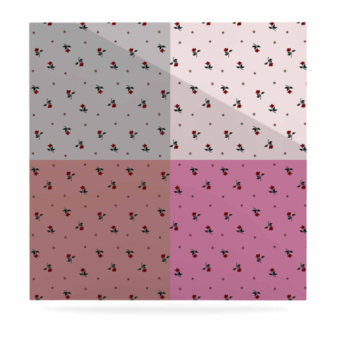 "Ebi Emporium ""COLORBLOCK FLORAL 2"" Pastel,Pink,Modern,Floral,Mixed Media,Watercolor Luxe Square Panel"