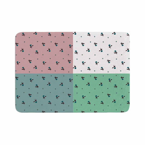 "Ebi Emporium ""COLORBLOCK FLORAL 1"" Pastel,Multicolor,Modern,Floral,Mixed Media,Watercolor Memory Foam Bath Mat"