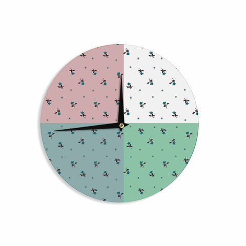 "Ebi Emporium ""COLORBLOCK FLORAL 1"" Pastel,Multicolor,Modern,Floral,Mixed Media,Watercolor Wall Clock"
