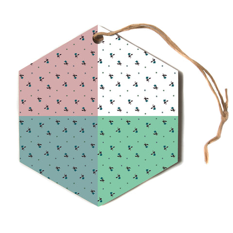 "Ebi Emporium ""COLORBLOCK FLORAL 1"" Pastel,Multicolor,Modern,Floral,Mixed Media,Watercolor Hexagon Holiday Ornament"