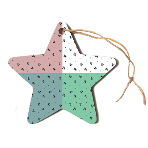 "Ebi Emporium ""COLORBLOCK FLORAL 1"" Pastel,Multicolor,Modern,Floral,Mixed Media,Watercolor Star Holiday Ornament"