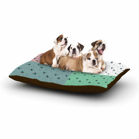 "Ebi Emporium ""COLORBLOCK FLORAL 1"" Pastel,Multicolor,Modern,Floral,Mixed Media,Watercolor Dog Bed"