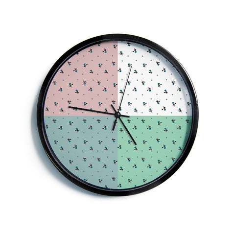 "Ebi Emporium ""COLORBLOCK FLORAL 1"" Pastel,Multicolor,Modern,Floral,Mixed Media,Watercolor Modern Wall Clock"