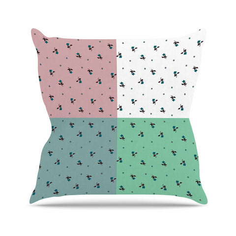 "Ebi Emporium ""COLORBLOCK FLORAL 1"" Pastel,Multicolor,Modern,Floral,Mixed Media,Watercolor Outdoor Throw Pillow"