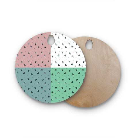 "Ebi Emporium ""COLORBLOCK FLORAL 1"" Pastel,Multicolor,Modern,Floral,Mixed Media,Watercolor Round Wooden Cutting Board"