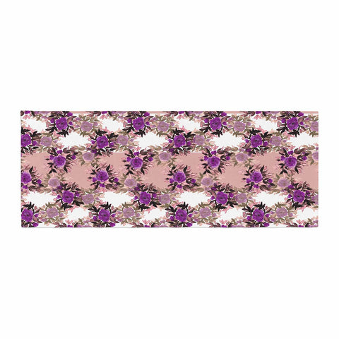 "Ebi Emporium ""CHEVRON ROSES, PURPLE PINK"" Purple,Pink,Floral,Pattern,Mixed Media,Watercolor Bed Runner"