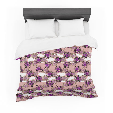 "Ebi Emporium ""CHEVRON ROSES, PURPLE PINK"" Purple,Pink,Floral,Pattern,Mixed Media,Watercolor Featherweight Duvet Cover"