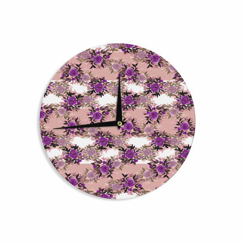 "Ebi Emporium ""CHEVRON ROSES, PURPLE PINK"" Purple,Pink,Floral,Pattern,Mixed Media,Watercolor Wall Clock"