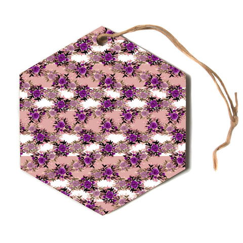 "Ebi Emporium ""CHEVRON ROSES, PURPLE PINK"" Purple,Pink,Floral,Pattern,Mixed Media,Watercolor Hexagon Holiday Ornament"