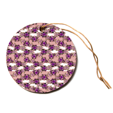 "Ebi Emporium ""CHEVRON ROSES, PURPLE PINK"" Purple,Pink,Floral,Pattern,Mixed Media,Watercolor Circle Holiday Ornament"