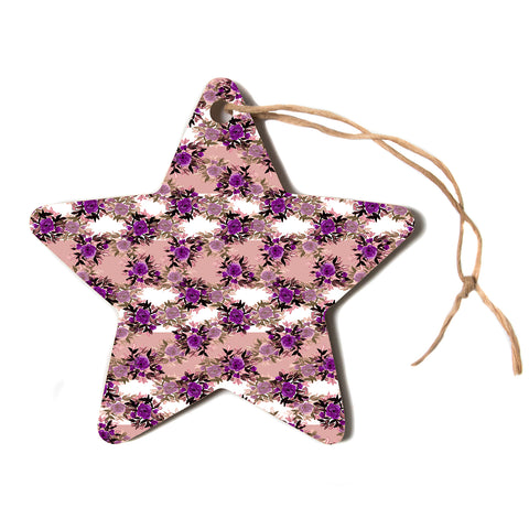 "Ebi Emporium ""CHEVRON ROSES, PURPLE PINK"" Purple,Pink,Floral,Pattern,Mixed Media,Watercolor Star Holiday Ornament"
