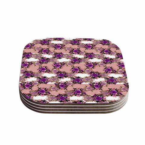 "Ebi Emporium ""CHEVRON ROSES, PURPLE PINK"" Purple,Pink,Floral,Pattern,Mixed Media,Watercolor Coasters (Set of 4)"