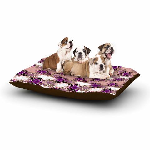 "Ebi Emporium ""CHEVRON ROSES, PURPLE PINK"" Purple,Pink,Floral,Pattern,Mixed Media,Watercolor Dog Bed"
