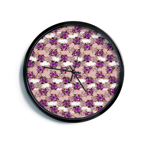 "Ebi Emporium ""CHEVRON ROSES, PURPLE PINK"" Purple,Pink,Floral,Pattern,Mixed Media,Watercolor Modern Wall Clock"