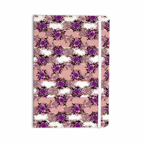 "Ebi Emporium ""CHEVRON ROSES, PURPLE PINK"" Purple,Pink,Floral,Pattern,Mixed Media,Watercolor Everything Notebook"