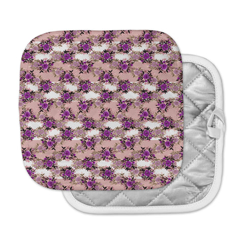 "Ebi Emporium ""CHEVRON ROSES, PURPLE PINK"" Purple,Pink,Floral,Pattern,Mixed Media,Watercolor Pot Holder"